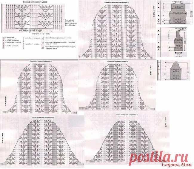 Подборка схем для вязания рукавов.