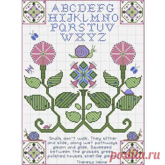 Летняя вышивка-сэмплер: улитка и цветы крестом. Бесплатная схема от Remy