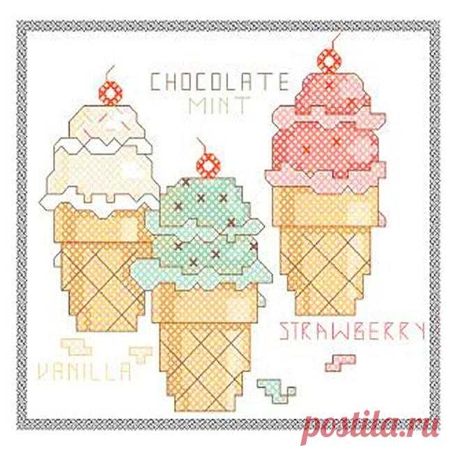 Вышивка: мороженое крестом. Схема