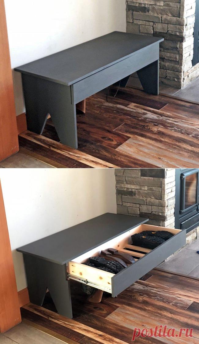 Деревянная скамья с ящиком для обуви