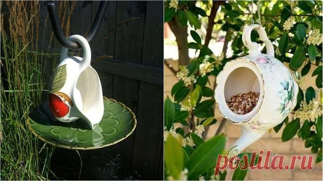 Самое роскошное применение ненужных чашек! Теперь на моем участке всегда есть птицы и белки.