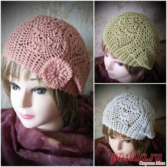 Летние шапочки крючком Женская шапочка - это универсальный аксессуар на любое время года.