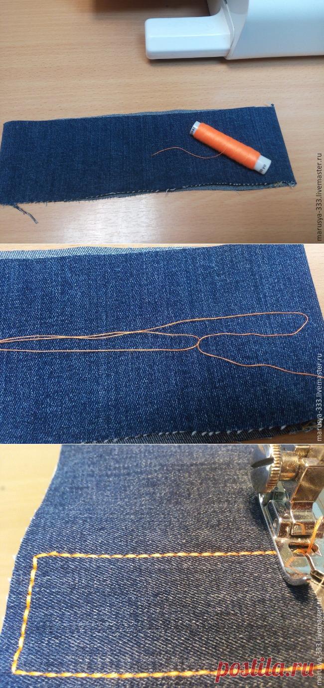4bb24014f0b1 Как прострочить отделочную строчку в три нитки из одной катушки - Ярмарка  Мастеров - ручная работа