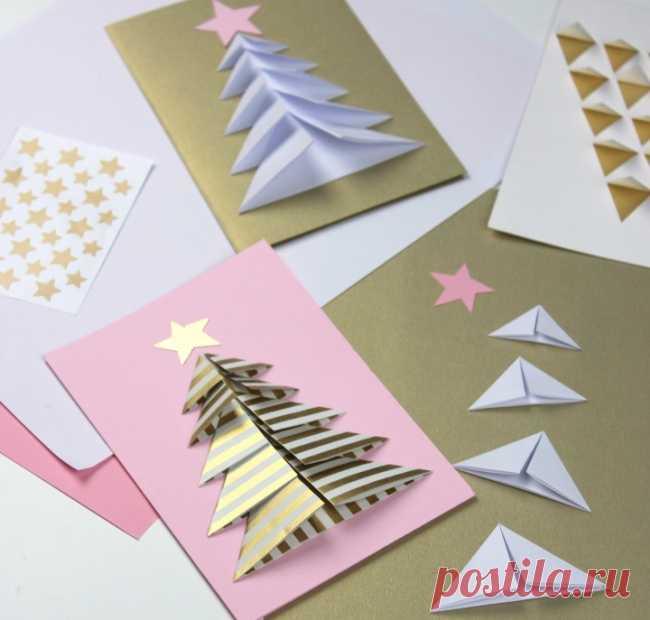 Лет, открытка к новому году из оригами