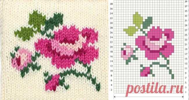 Жаккардовые узоры с цветами для вязания спицами: 25 тыс.