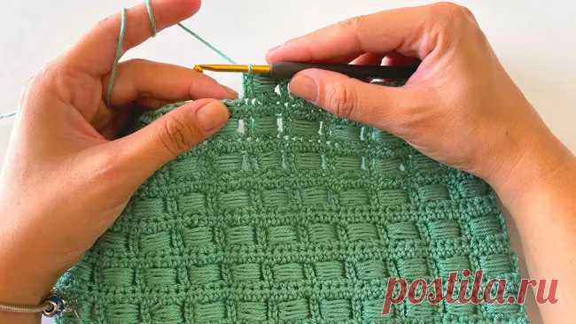 Красивый тканевый узор крючком♥♡♥интересный, плотный, текстурный