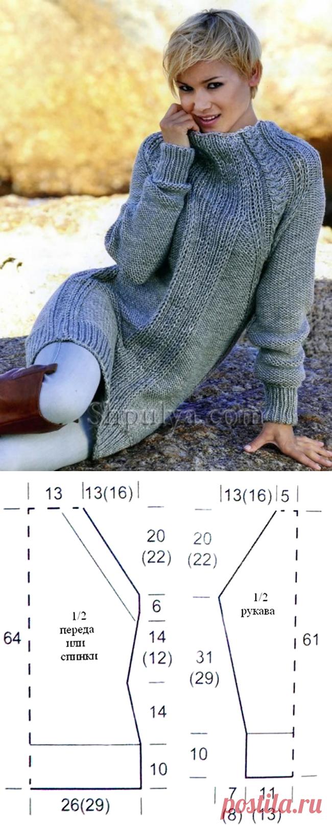 Теплое платье с рукавами реглан — Shpulya.com - схемы с описанием для вязания спицами и крючком