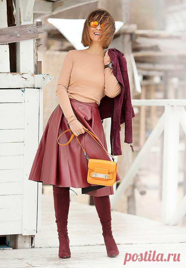 Как носить юбку зимой: кожа, деним, плиссе (фото)