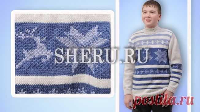 Пуловер мужской спицами: Схема с описанием пуловера №293