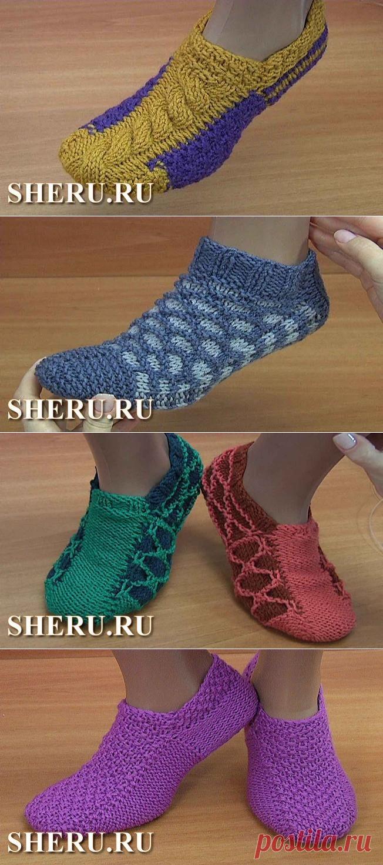 вязание следков на двух спицах без шва домашние тапочки носки и