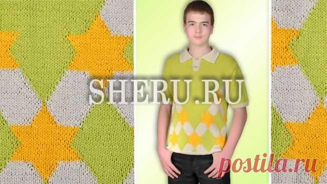 Мужской пуловер с жаккардовым узором: Схемы №103