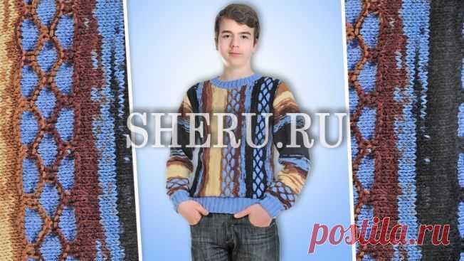 Пуловер мужской схема спицами: Модель пуловера №104