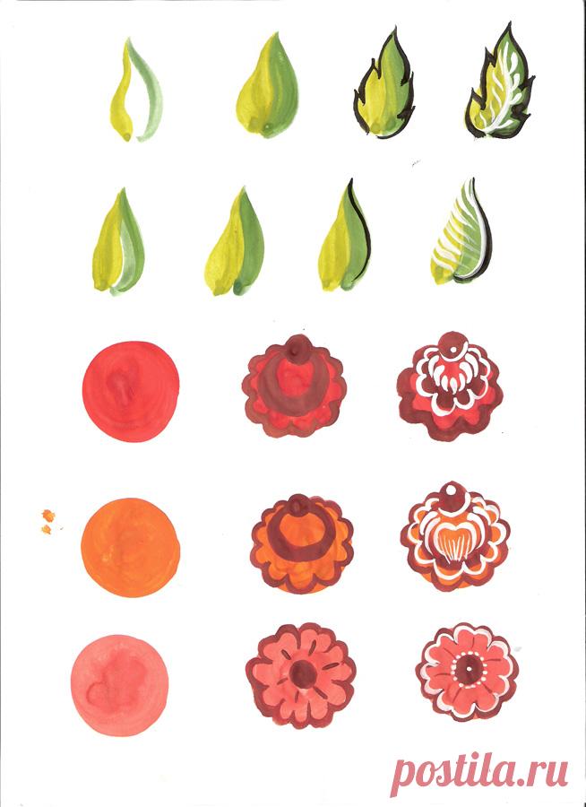 La pintura odetsky Municipal dibujar las flores como es por etapas