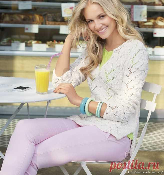 Нежный ажурный пуловер на лето белого цвета спицами — HandMade