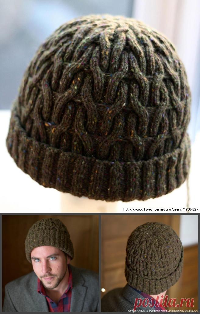 мужская вязаная шапка Masons Hat с рисунком из жгутов вязаные