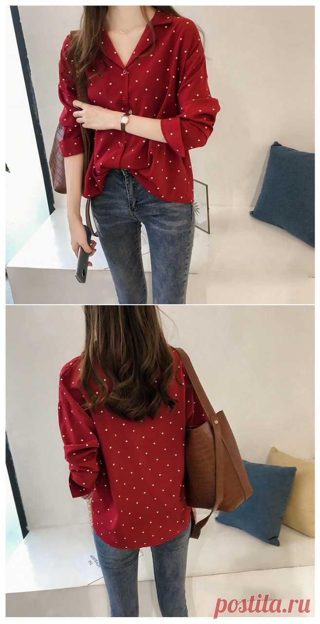 Удобная красная блузка для девушек, много размеров, есть бесплатная доставка