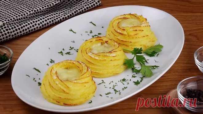 Картофель с сыром и беконом на закуску.Красиво и вкусно!