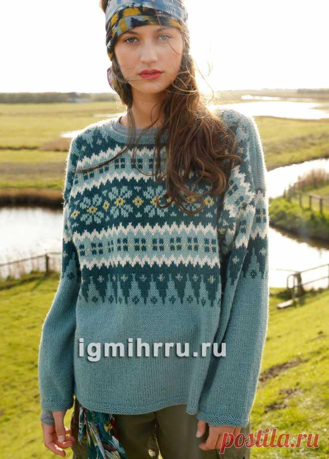 91dc59c2dc5 Шерстяной пуловер с широким жаккардовым узором. Вязание спицами ...