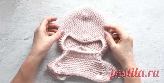Шапочка-шлем спицами для ребенка (Вязание спицами) – Журнал Вдохновение Рукодельницы