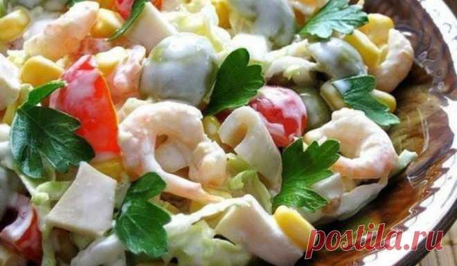 Салат с кальмарами и креветками. Самые вкусные рецепты салатов