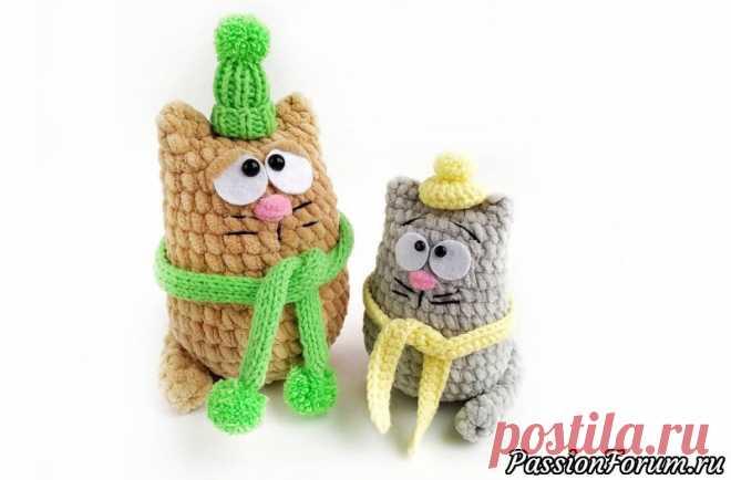 Вязаный котик в шапочке. МК Ольги Ким | Вязаные игрушки.