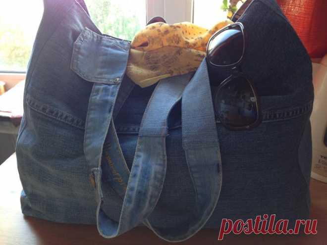 95a06a40b57d Большая пляжная сумка из старых джинсов своими руками | Сумки | Постила