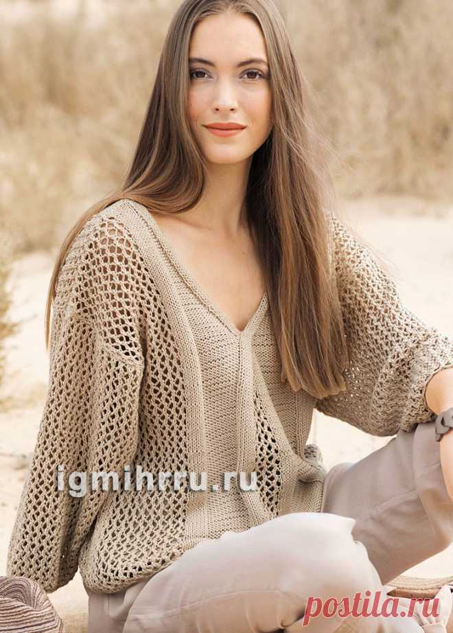 Бежевый пуловер с ажурным узором. Вязание спицами
