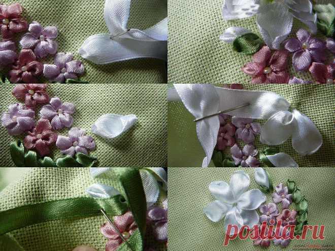 Вышивка шелковыми и атласными лентами цветов на примере лилии для начинающих, мастер-класс и уроки со схемами и фото