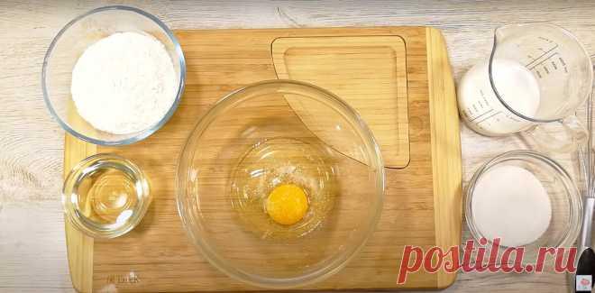 Хоть с яблоками, хоть с бананами! На сковороде - мягкий, воздушный пирог - тесто с одним яйцом!   Алена Митрофанова - рецепты.   Яндекс Дзен