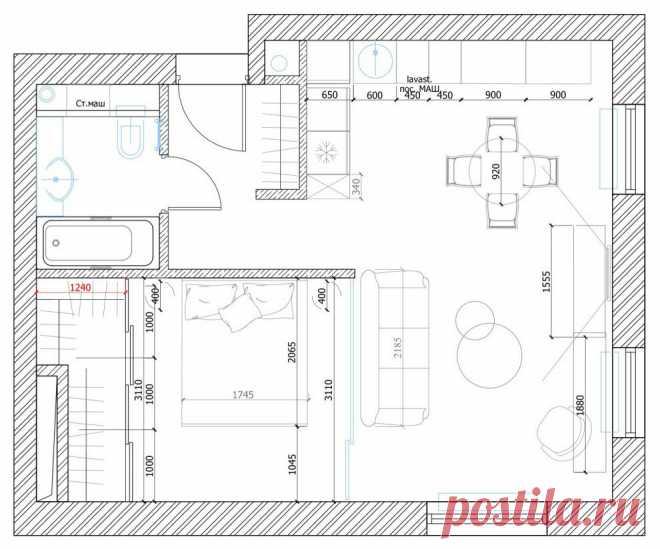 Цвета и линии: очень красивый интерьер квартиры площадью 50 м² с одной спальней | Architect Guide | Яндекс Дзен