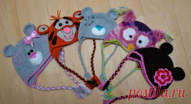 Вязание шапочек с ушками для девочек спицами с описанием