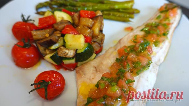 Сибас с овощами в духовке с французским соусом вьерж Сегодня готовим филе рыбы сибас в духовке с овощами. Рыба получается сочная, нежная и очень вкусная!Филе рыбы сибас ( или любая другая белая рыба )Овощи на гарнир. ( Можно взять любые ) Я взяла: Перец...