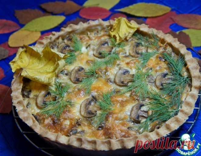 Открытый пирог с курицей и грибами – кулинарный рецепт