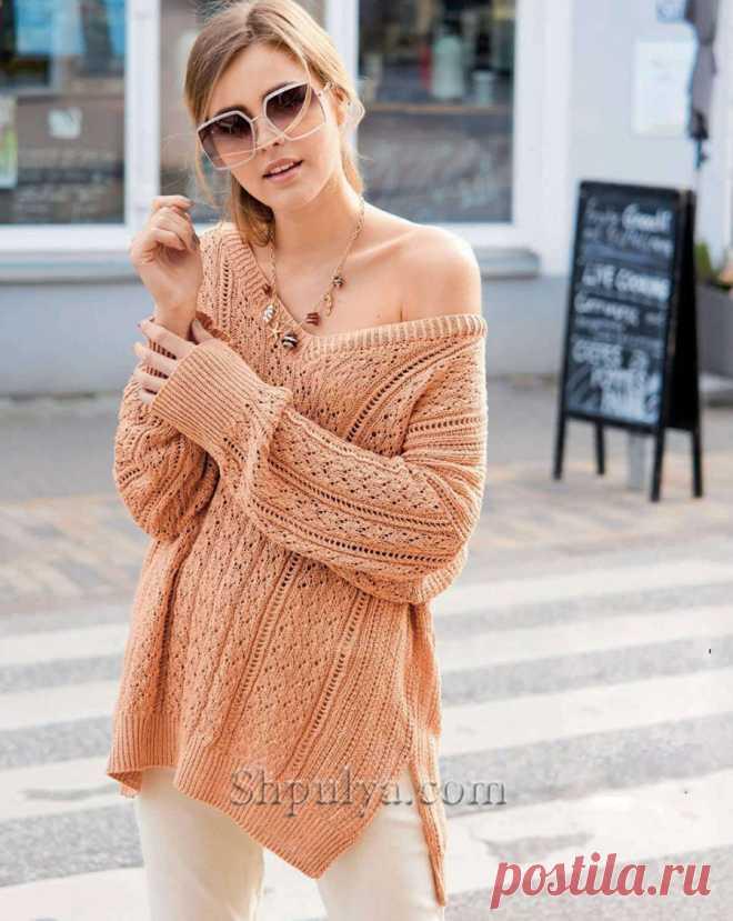 Свободный терракотовый пуловер с миксом узоров