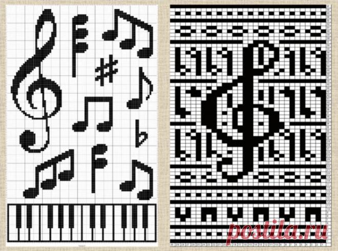 Схемы жаккардовых узоров и примеры изделий с нотами - большая подборка