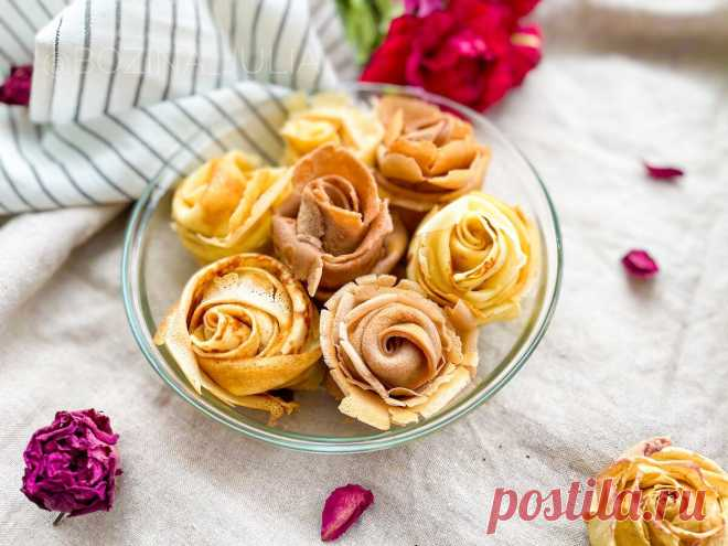 Когда я поставила эти блины на стол, гости ахнули! (показываю, как сделать розы из блинов)   Сладкий Персик 🍑   Яндекс Дзен