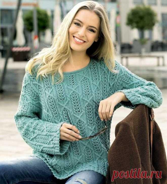 Ажурные пуловеры: фантазийные узоры, ромбы/ модели спицами, описание, схемы | Вязание