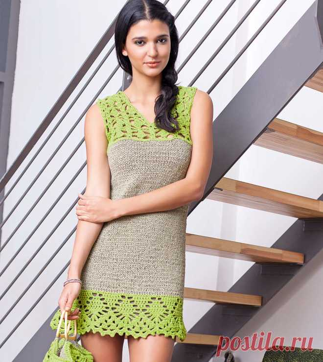 Мини-платье с ажурной каймой - схема вязания спицами. Вяжем Платья на Verena.ru