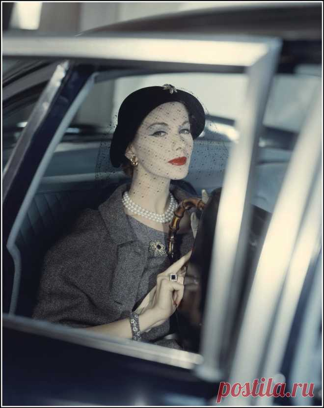 Joan Friedman in tweed outfit by Larry Aldrich, photo by Clifford Coffin used as a Vogue cover for March 1957