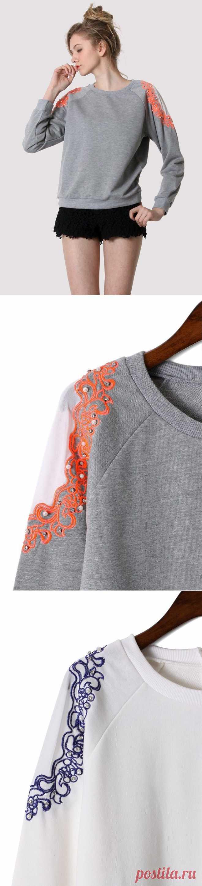 Прозрачные плечи с вышивкой / Худи / Модный сайт о стильной переделке одежды и интерьера