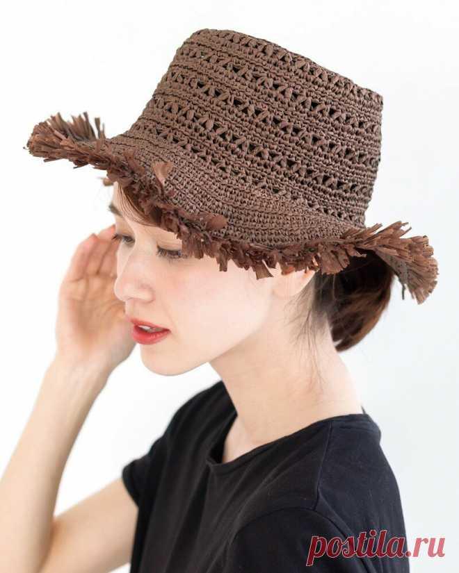 Летняя шляпка - схема вязания крючком и вопрос: из чего связать такую шляпу? | Tvorlen (непутёвые заметки) | Яндекс Дзен