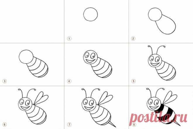 Как нарисовать пчелу