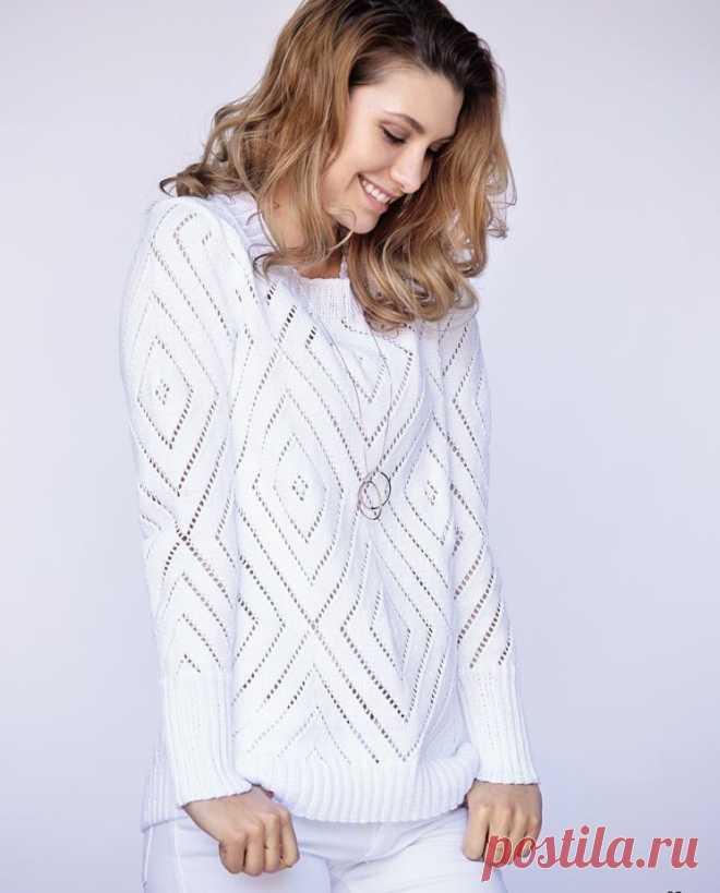 Элегантный белый джемпер (Вязание спицами) — Журнал Вдохновение Рукодельницы