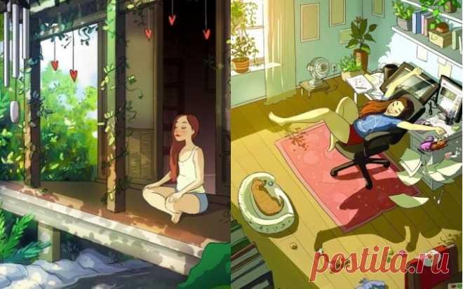 Иллюстратор показала в своих рисунках, почему жить одному — это круто. | FunFeel