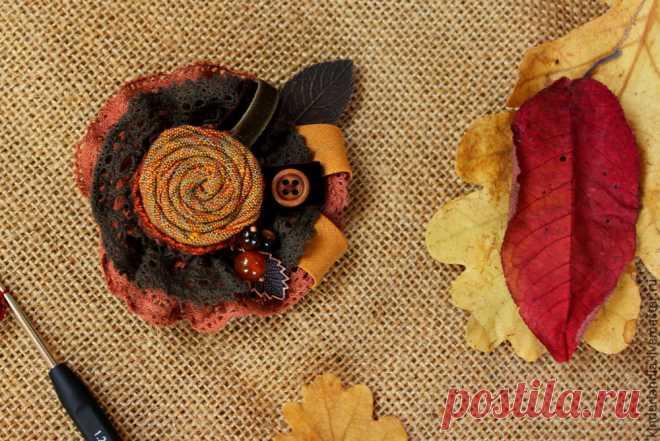 Создаем текстильную брошь «Симфония осенних листьев» - Ярмарка Мастеров - ручная работа, handmade