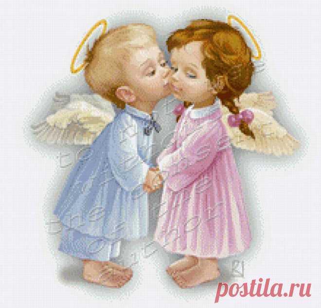 Предпросмотр схемы вышивки «ангелочки» - Вышивка крестом