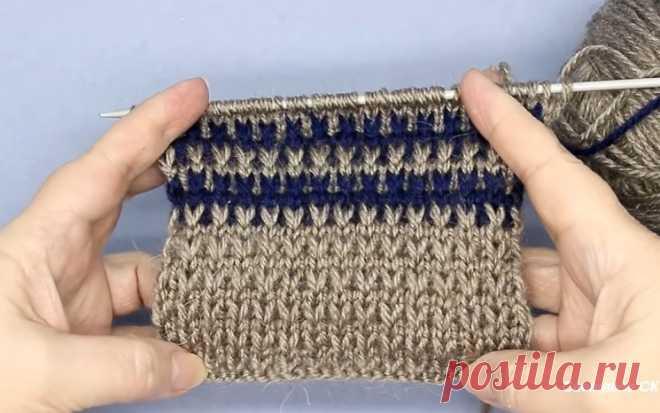 """Цветной узор для свитера """"Имитация резинки спицами"""" (Вязание спицами) – Журнал Вдохновение Рукодельницы"""