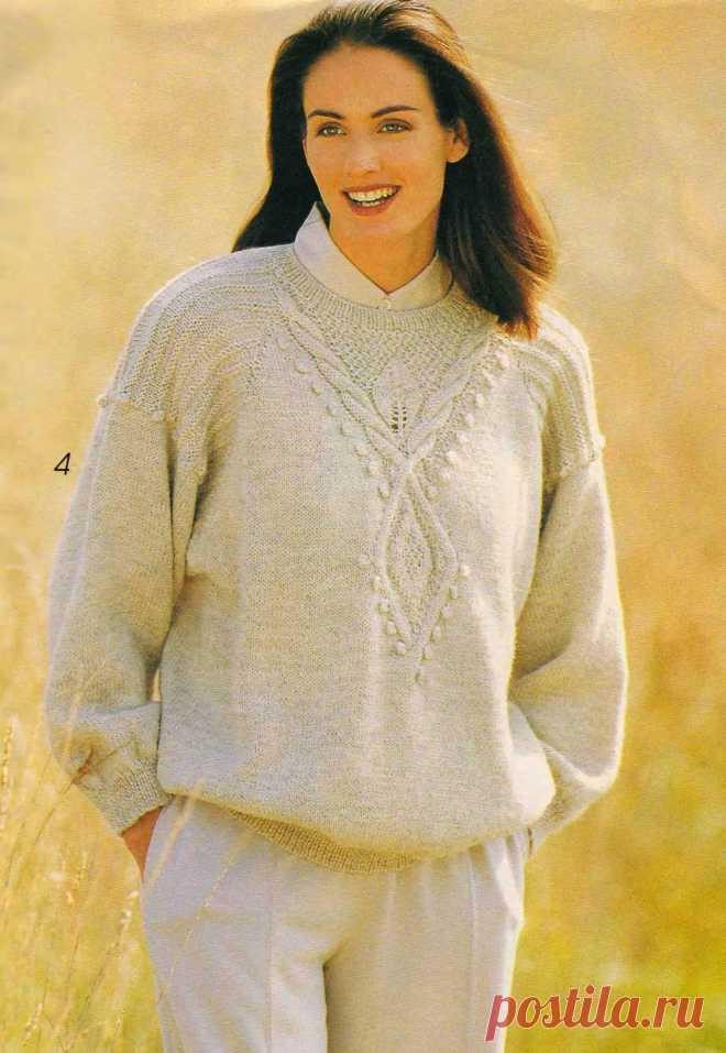 Пуловер с оригинальным узором-кокеткой. Из моды 90-х прошлого века