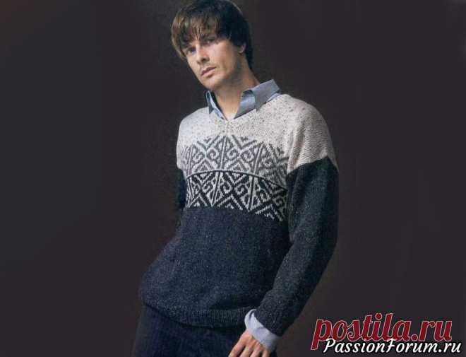 Мужской свитер с жаккардовым узором | Вязание для мужчин спицами.