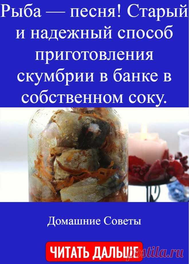 Рыба — песня! Старый и надежный способ приготовления скумбрии в банке в собственном соку.